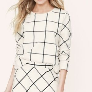 LOFT Blush Grid Print Pullover Sweatshirt Size M